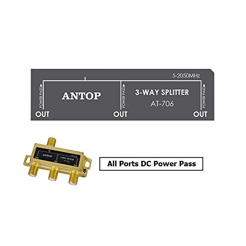 ANTOP Coaxial Cable Splitter Ultra Mini Distribution for Satellite TV Antenna Signals 2GHz- 5-2050MHz
