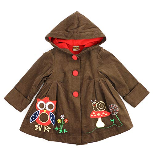 Maria Elena - Toddlers and Girls Owl & Mushroom Soft Corduroy Hooded Swing Jacket Lined with Warm & Cozy Fleece in Cocoa Brown Size 2T ()