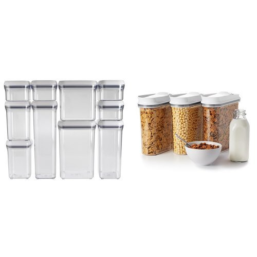 OXO Good Grips 10-Piece POP Container Set, White and OXO Good Grips 3 Piece Cereal Dispenser Set Bundle