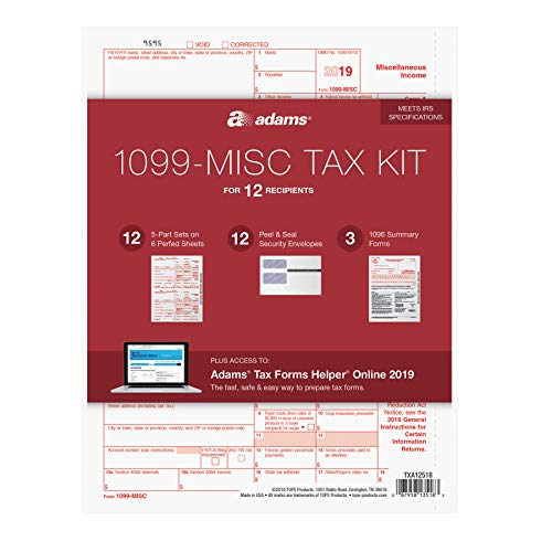 Adams 1099-MISC Kit for 2019, 5-Part Inkjet/Laser Sets for 12, 3 1096 Forms, 12 Peel & Seal Envelopes + Adams Tax Forms Helper Online (TXA12518) (1096 Forms Laser)