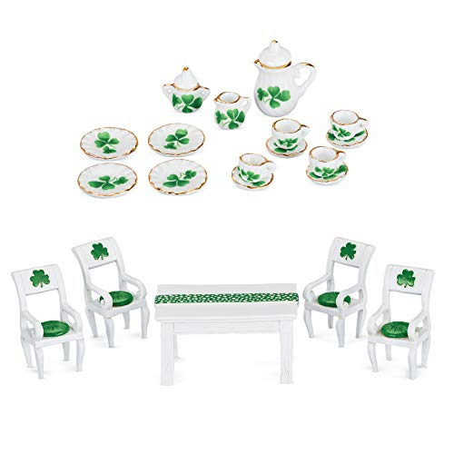 Collections Etc St. Patrick's Hand-Painted Miniature Dining Room with Shamrock Accents - Set of 20 (Shamrock Set Tea)