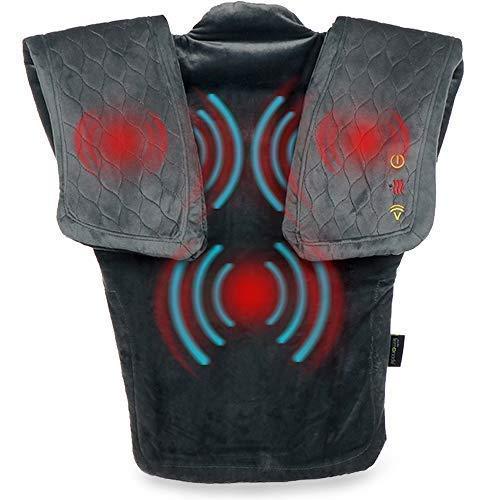 Vibration Massage Wrap with Subtle Heat | Adjustable Intensity, Soft Fabric | Shoulder Massage, Relieves Neck, Upper Back, Shoulder Tension | Gray