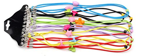 Eyeglass Chain - 12 Assorted Color Elastic Adjustable Reading Eyewear Glasses Neck Retainers Safety Strap Cord Rope Holder for Kid ()