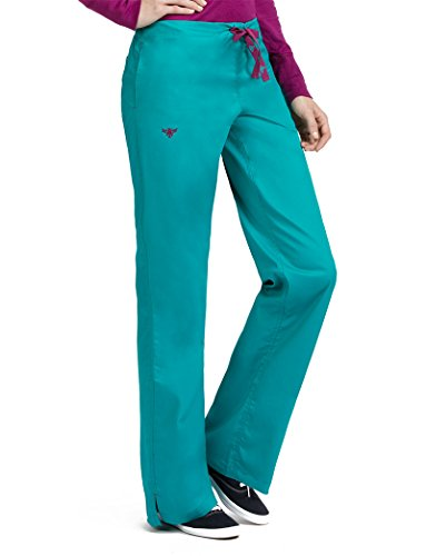 - Med Couture Drawstring Signature Scrub Pants for Women, Real Teal/Sangria, Small Tall