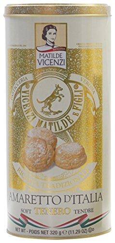 """Vicenzi: """"Amaretto d'Italia Tenero"""" Soft Amaretti, Traditional Recipe - 11.29 Ounces (320g) Special Edition Tin [ Italian Import ]"""