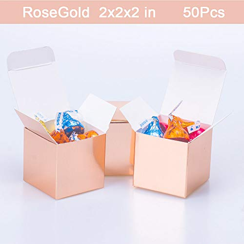 Rosegold Candy Boxes Small Gift Boxes 2 x 2 x 2 inch,50pcs,Square Paper Treat Boxes Party Favor Boxes for Wedding,Bridal Shower,Birthday,Baby Shower,Anniversary,Holiday Celebration Party Supplies