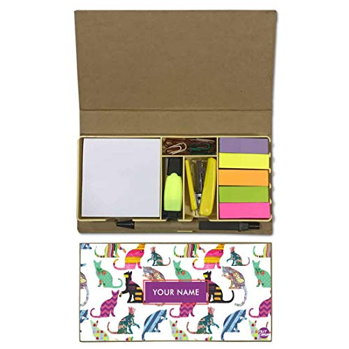 Nutcaseshop Personalized Stationary Kit Desk Customised Organizer Memo Notepad Sticky Note Tabs - Colorful Cats -
