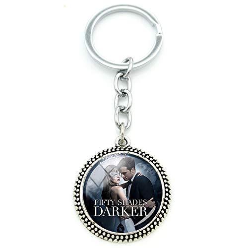 Jewelry Shades (Movie Jewelry Fifty Shades of Grey Darker Freed Christian Charm Key Chain Round Glass Gems Pendant Keychain Keyrings SD39)