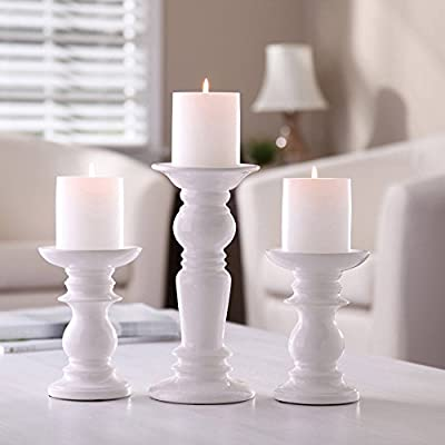 "Hosley Set of 3 Ceramic White Pillar Candle Holders - Two 6"" and One 9.5"" High. Ideal for LED and Pillar Candles, Gifts for Wedding, Party, Home, Spa, Reiki, Aromatherapy, Votive Candle Gardens P2"