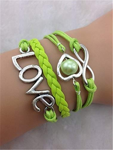 New Infinity Heart Love Antique Silver Leather Charm Bracelet