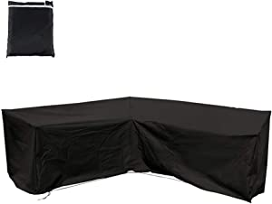 """BullStar Patio Sectional Sofa Cover V-Shaped Furniture Protector Premium Outdoor Waterproof Garden Couch Cover, 85"""" Each Side Length"""