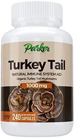 Premium Organic Turkey Tail Mushroom Capsules by Parker Naturals Supports Immune System Health. Nature s Original Superfood. 240 Capsules
