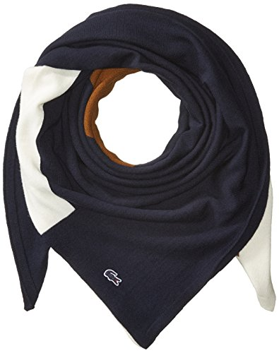Lacoste Women's Square Scarf, Navy Blue/Dark Renaissance Brown-Flour, One Size by Lacoste