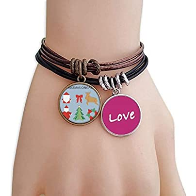Metftus Red Abstract Christmas Origami Pattern Love Bracelet Leather Rope Wristband Couple Set Estimated Price -