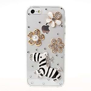 DIY 3D cebra y flores con el patrón del Rhinestone plástico duro caso para iPhone 5/5S