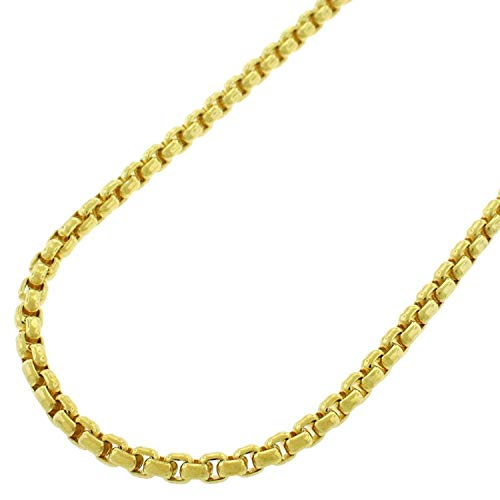 (14k Yellow Gold 2.5mm Round Box Link Necklace Chain 16