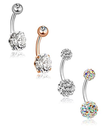 YOVORO 4PCS 14G 316L Stainless Steel Womens Belly Button Rings Girls Navel Rings Cubic Zirconia Body - Titnium
