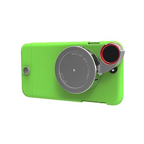 Ztylus iPhone 6s Plus / 6 Plus Lite Series Camera Kit w/ 4-in-1 Lens Attachment (Premium Textured Leather Finish Style) (Green) ()