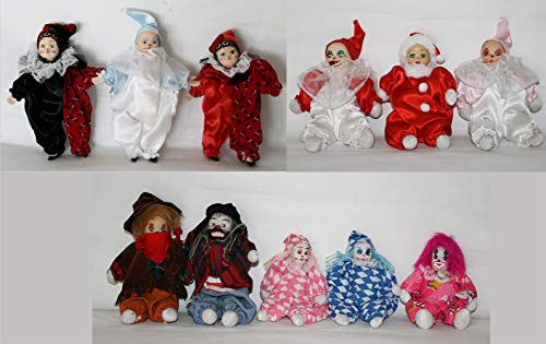 JOINER 11 Porcelain Clown Dolls 6 - 4.5 Inches with Funny Cloth Perfect for -