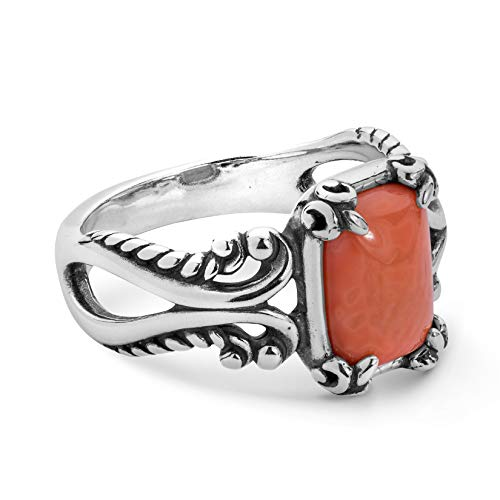 Salmon Coral Gemstone Ring - Size 10 ()