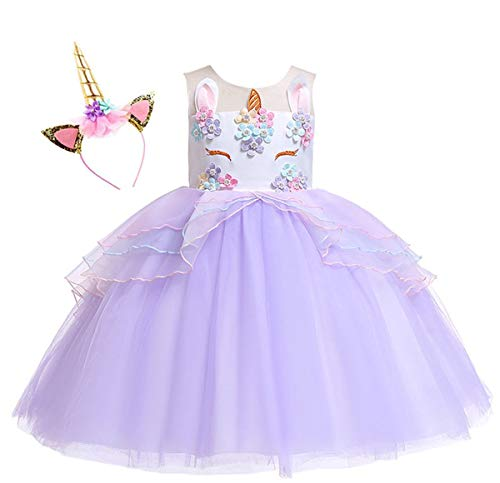 Kokowaii Fancy Girls Unicorn Pageant Party Dress Tutu Costume]()