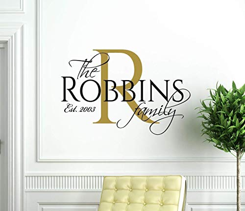 Custom Family Name Wall Decal - Personalized Vinyl Home Decor for Wedding or Housewarming Gift - Living Room Decoration - Elegant Wall Art with Marriage Established Year | Black, Gold, 25 Colors
