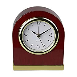 Wood Table Clock Classic Desk Alarm Table Personalized Wood Desk Archway Clock with Gold Base. Classic Retro Style Quartz Clock, Desk Cupboard Bedside Alarm Clock(Red)