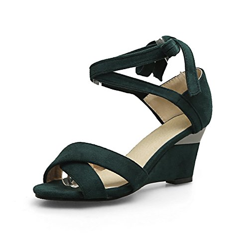 Green Bows Self Sandals Wedges Fabric Tie MJS02834 1TO9 Womens Heeled aqzx7zwF