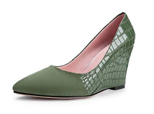 SHINIK Mujer Zapatos De Cuña Acentuados 2018 Otoño Nuevo Patrón De Piedra Zapatos De Tacón Alto De Moda Verde