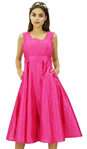 Kleid Taschen Bimba Gurt Damen mit mit Rosa Brautjunfer Midi Partei Abendkleid 0qS0nBz