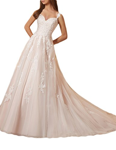 (OYISHA Womens 2017 A-Line Lace Wedding Dress Tulle Sweetheart Bridal Gown WD159 Ivory 10)