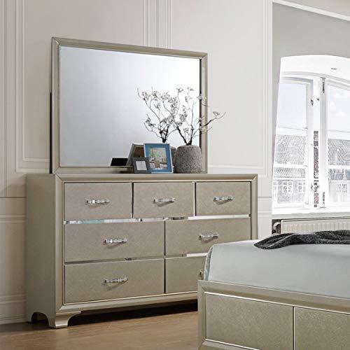 (7 Drawers Dresser Chest Mirror Set Storage Cabinet Case Body Square Shape Mirror Smooth Luxury Bedroom Contemporary Wood Sturdy Craftsmanship Density Home Improvement Living Room Organize Elegance)