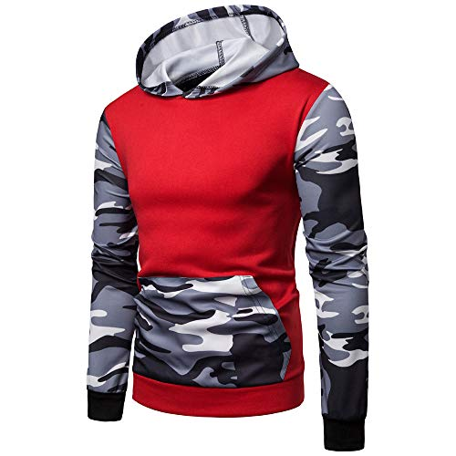 Realdo Clearance Mens Camo Hoodie Sweatshirt, Mens Splice Camouflage Military Combat Hooded Pullover Tops(Large,Red)