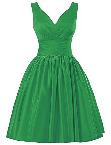 JAEDEN Mujer V-Cuello Vestido de la Dama de Honor Corto Satén Vestido de Cóctel Vestido de Fiesta Verde