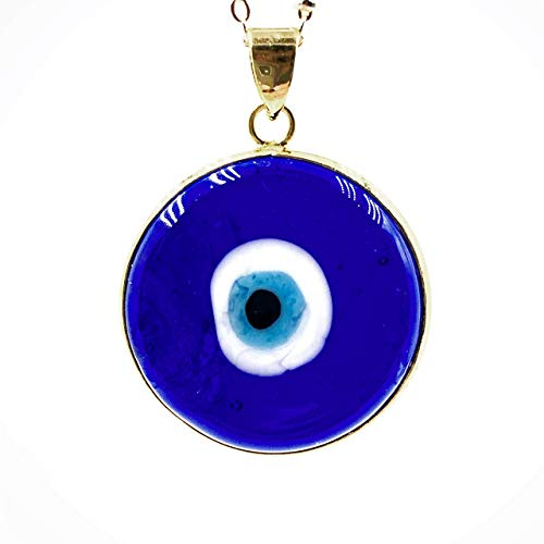 Evil Eye Necklace Murano Glass Pendant 18k Gold Plated Chain