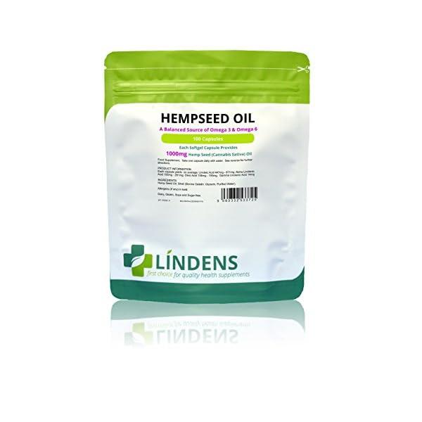 Lindens Hemp Seed Oil 1000mg Capsules (100 Pack)