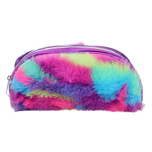 Shoulder Bag for Women Student Faux Fur Laser Zipper Clutch Bag Cosmetic Pouch Pen ()