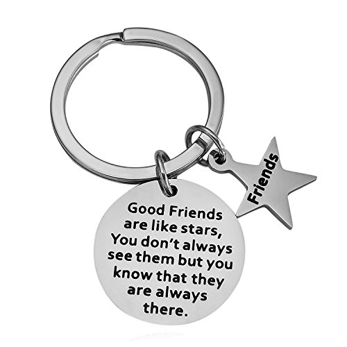 (BESPMOSP Good Friends are Like Stars Charm Key Chain Keyring Best Friend Gift Purse Inspirational Friendship Quotes Stainless Steel)