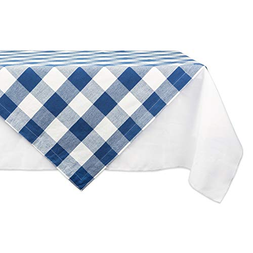 (DII CAMZ11254 Cotton Buffalo Check Plaid Square Table Topper for Family Dinners or Gatherings, Indoor or Outdoor Parties, Everyday Use, 40x40, Navy and Cream)