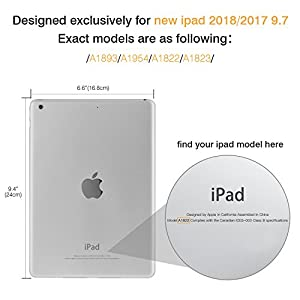 MoKo Case for iPad 9.7 2018/2017 - Slim Lightweight Smart Shell Stand Cover with Translucent Frosted Back Protector for Apple iPad 9.7 Inch(iPad 5, iPad 6, Space GRAY (Auto Wake/Sleep)