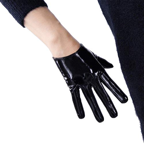 DooWay 6-inch Short Black Faux Leather Glossy Women Gloves, Handmade Unlined Wedding Bridal Party Finger Gloves (Leather For Short Gloves Women)
