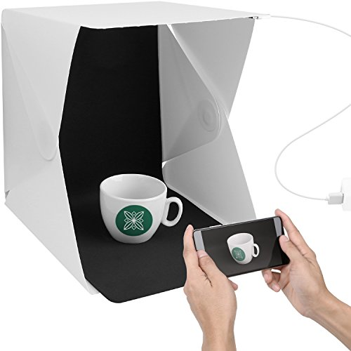ChromLives Light Box Photo Box Product Photography Lighting Kit 9.8 inch Portable Foldable Photo Studio Photography Shooting Tent w/ 2 Colors Background,USB Cable
