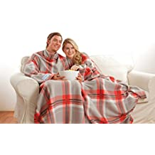 The Original Snuggie - Super Soft Fleece Blanket With Sleeves And Pockets - Red Plaid