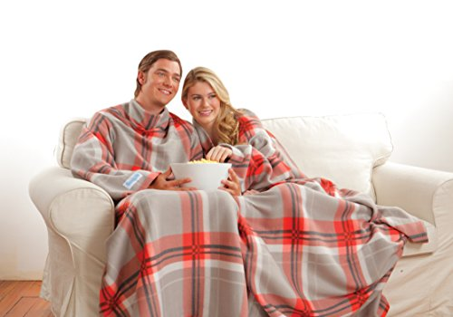 The Original Snuggie - Super Soft Fleece Blanket With Sleeves And Pockets - Red Plaid (Snuggie Blanket For Women)