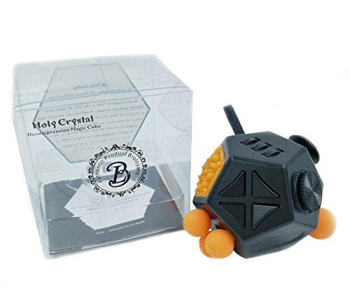 Broloyalty-Fidget Gadget II 12 Sides Diamond-shaped cube Relieves Stress and Anxiety for Children and Adults(Black)