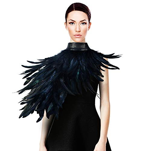 Homelex Gothic Real Black Feather Cape Shawl Shoulder Wings Choker Collar ()