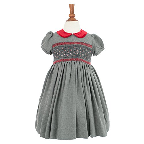 Carriage Boutique Girl's Hand Smocked Holiday Party Dress - Dark Gray with Red Flowers, 5Y (Newborn Smocked Christmas Dresses)