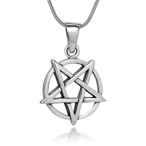 Sterling Silver 18 mm Inverted Pentagram Pentacle Star Pendant Necklace, 18 Inch Chain