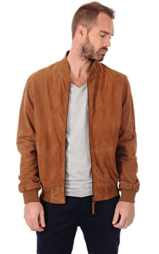 Lambskin Leather Men's Suede Leather Jacket -XXL