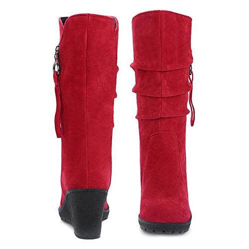 Eastlion Women's Autumn and Winter Outdoor Keep Warm Fleece Lined Wearable Snow Boots Wedges Shoes Black ZQ2H1W